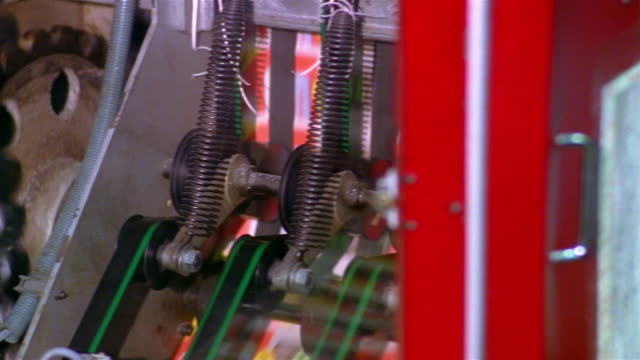 close up pan cogs and chains spinning in printing press conveyer / santa barbara, california - coiled spring stock videos and b-roll footage