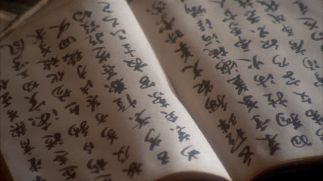 close up pan from japanese script in book to inkwell - japanese script stock videos & royalty-free footage