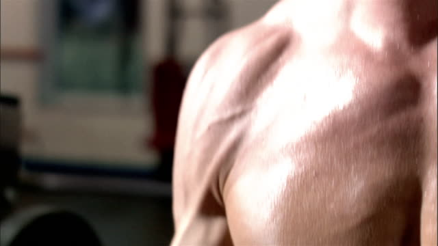 close up pan up side of bare chest of young man lifting weights in health club/ pan down chest/ pan defocused view of health club - pectoral muscle stock videos and b-roll footage