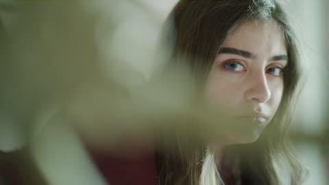 close up panning shot of serious girl / cedar hills, utah, united states - despair stock videos & royalty-free footage