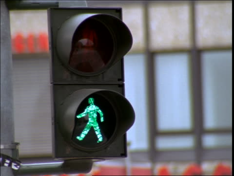 close up pedestrian crossing light changing from green to red / Frankfurt