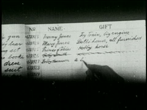 b/w 1925 close up pen writing gifts on santa claus's christmas list - 1925 stock videos & royalty-free footage