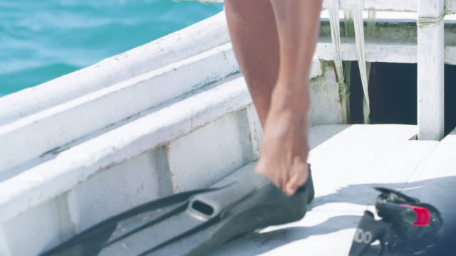 close up, person puts on diving flippers - diving flipper stock videos & royalty-free footage
