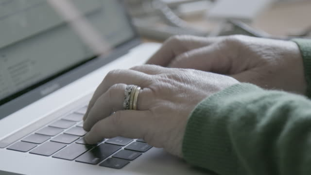 close up, person with rings type on computer - san jose california stock videos & royalty-free footage