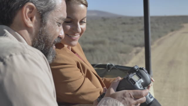 vidéos et rushes de close up, photographers in off road vehicle in south africa - safari