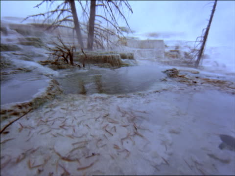 close up point of view over time lapse hot springs in winter / yellowstone national park, wyoming - naturwunder stock-videos und b-roll-filmmaterial