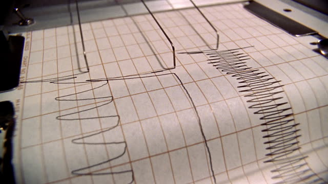 stockvideo's en b-roll-footage met close up polygraph machine printout during lie detector test - machinerie