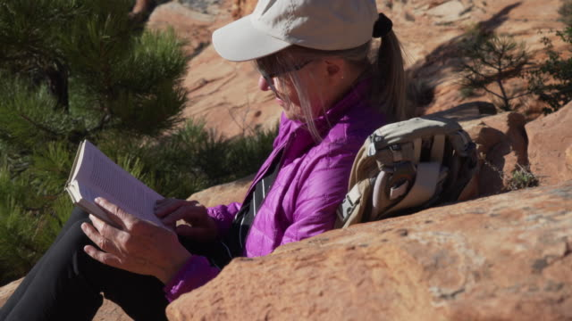 close up portrait of elderly woman resting on rocky surface reading a novel - letteratura video stock e b–roll