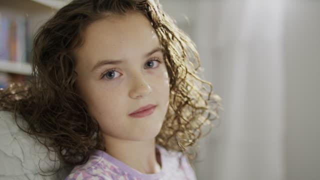 close up portrait of smiling girl / provo, utah, united states - provo bildbanksvideor och videomaterial från bakom kulisserna