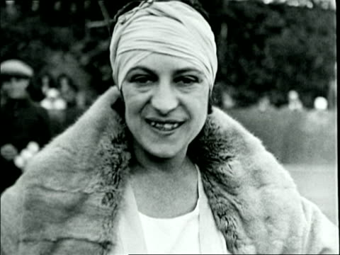 b/w 1926 close up portrait tennis pro suzanne lenglen talking laughing / france / documentary - 1926 stock videos & royalty-free footage