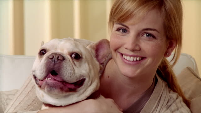 close up portrait woman with french bulldog - french bulldog stock videos and b-roll footage