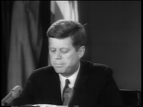 b/w 1962 close up president john f kennedy giving speech about cuban missile crisis - cuban missile crisis stock videos & royalty-free footage