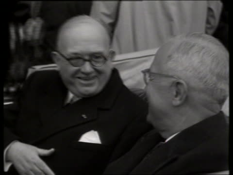 b/w close up president truman and french president auriol in car / 1940's / no sound - cinematografi bildbanksvideor och videomaterial från bakom kulisserna