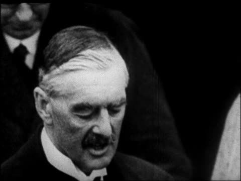 close up prime minister chamberlain making speech + smiling / after signing of munich pact - 1938 stock videos & royalty-free footage
