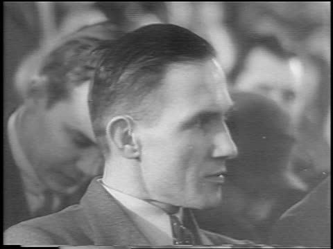 b/w 1935 close up profile bruno hauptmann sitting in courtroom at lindbergh kidnapping trial / newsreel - 1935 stock videos and b-roll footage
