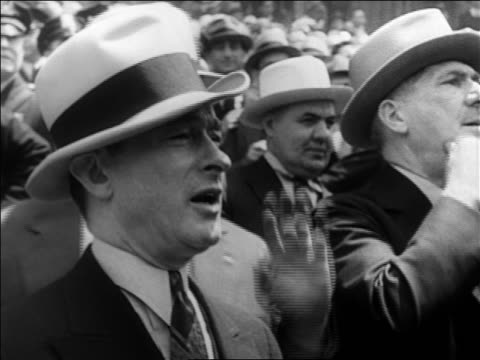 b/w 1929 close up profile jimmy walker in hat talking outdoors / documentary - only mature men stock videos & royalty-free footage
