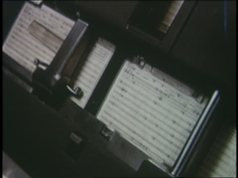 1950 close up punch cards running thru computer - punch card reader stock videos & royalty-free footage