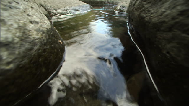 Close Up push-in - A stream in Iao Valley flows between rocks in Maui, Hawaii. / Hawaii, USA