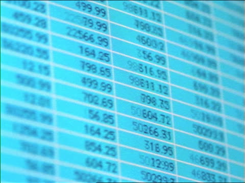 close up pan quickly scrolling columns of numbers on computer screen - 1999 stock videos & royalty-free footage