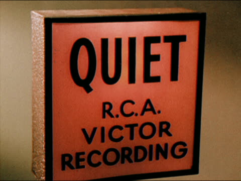 """1956 close up """"quiet"""" sign from r.c.a. recording studio/ audio - interconnect plug stock videos & royalty-free footage"""