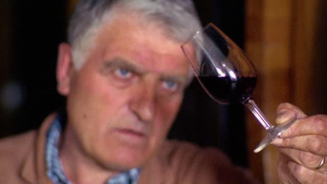 close up rack focus Italian man examining red wine in glass in wine cellar / Pienza, Italy