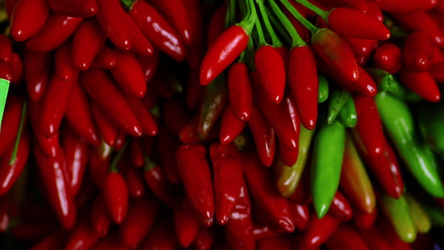 close up rack focus red + green peppers / munich, germany - peperoncino video stock e b–roll