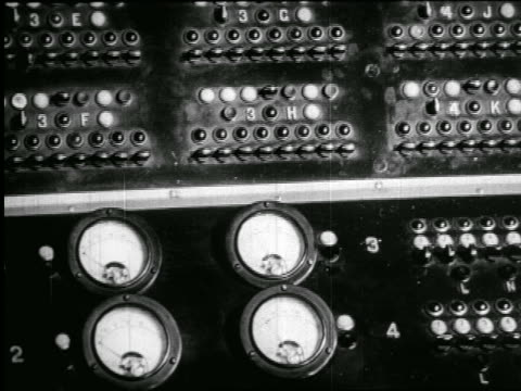b/w 1938 close up radio studio control panel / newsreel - radio studio stock videos & royalty-free footage