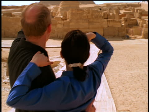 close up REAR VIEW tourist couple looking at the Sphinx + Great Pyramid / Giza, Egypt