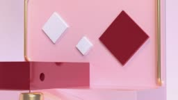 close up red gold pink glossy reflection scene abstract geometric shape 3d rendering motion