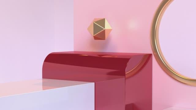vídeos de stock e filmes b-roll de close up red gold pink glossy reflection scene abstract geometric shape 3d rendering motion - objeto decorativo