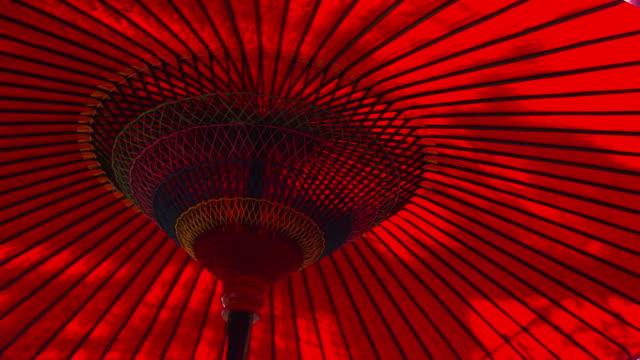 close up red Japanese umbrella Pan