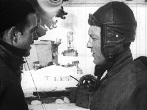 close up richard byrd talking to floyd bennett before flight over the north pole / newsreel - 1926 stock videos & royalty-free footage