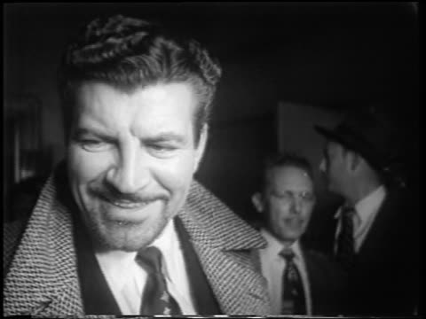 b/w 1951 close up robert preston with beard smiling at meet danny wilson premiere / newsreel - 1951 stock videos & royalty-free footage