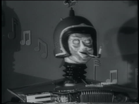 b/w 1958 close up robot musician smoking cigarette - ugliness stock videos & royalty-free footage