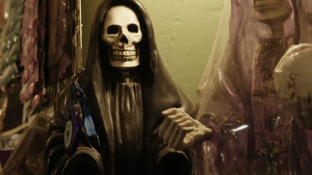 close up, santa muerte skull statue - afterlife stock videos and b-roll footage