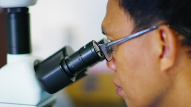 Close up, scientist uses microscope