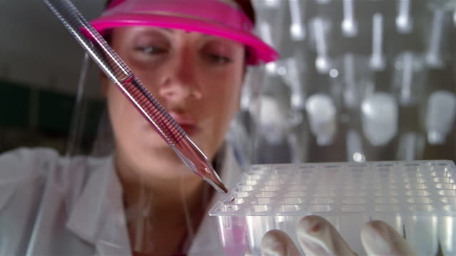 close up selective focus technician depositing liquid from pipette to sample holder - sample holder stock videos & royalty-free footage