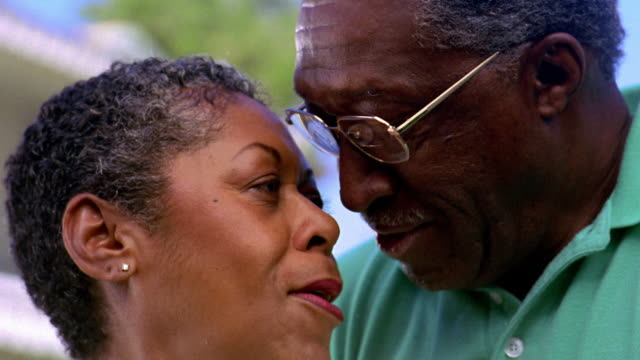 Close up senior Black couple smiling outdoors / Arizona