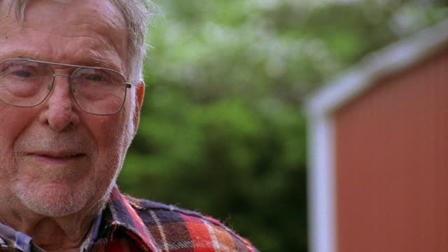 close up senior man in eyeglasses and plaid flannel shirt - kentucky stock videos & royalty-free footage