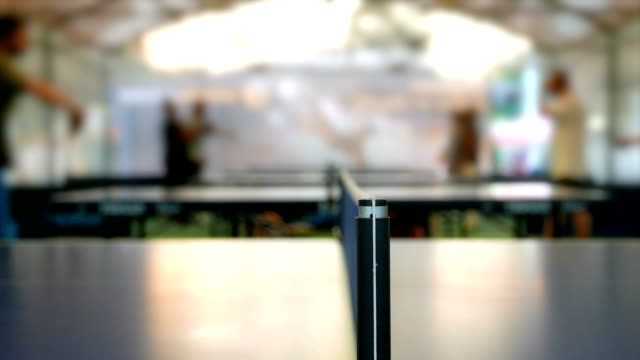 close up shot at the net of a table tennis game - table tennis stock videos and b-roll footage