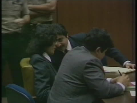 close up shot captures serial killer richard ramirez in the courtroom during his trial. - crime or recreational drug or prison or legal trial点の映像素材/bロール