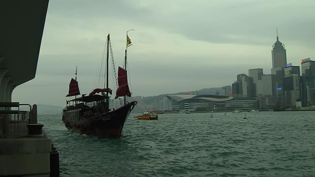 close up shot ferry in aberdeen harbour hong kong kwangtung china - aberdeen hong kong stock videos & royalty-free footage