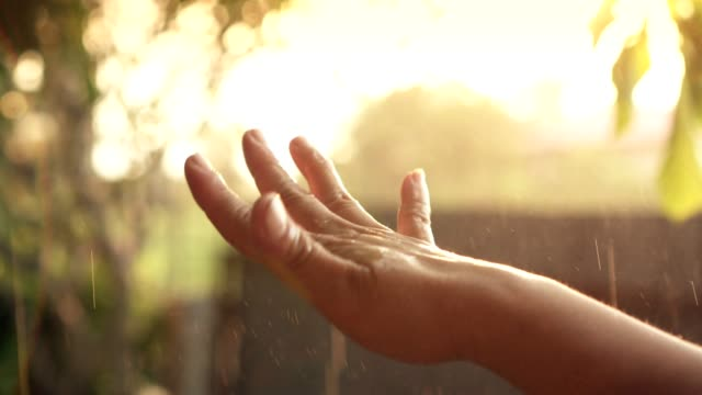 close up shot human hand water drop/raining beautiful sun light