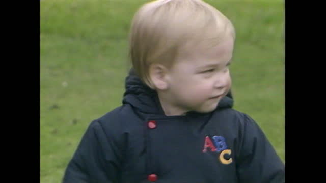 close up shot of 18-month old prince william during a press photo call at kensington palace gardens. - toddler stock videos & royalty-free footage