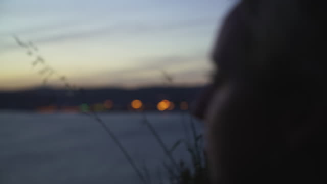 vídeos de stock, filmes e b-roll de feche acima do tiro de uma mulher loura que está em uma praia que olha uma grande ponte no por do sol - ponte