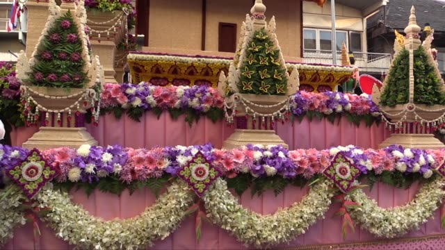 close up shot of a decorated float, side view. this is the 38th annual flower festival. - festival float stock videos & royalty-free footage