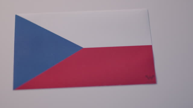 close up shot of a sticker of a flag from the czech republic - traditionally czech stock videos & royalty-free footage