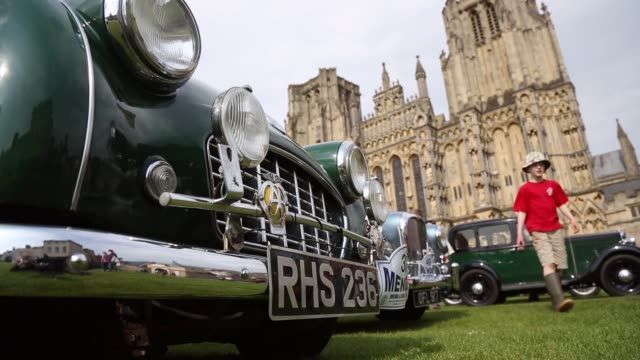 close up shot of a vintage car. now in its 19th year and organized by the classic & historic motor club, this year's event will once again raise... - wells cathedral stock videos & royalty-free footage