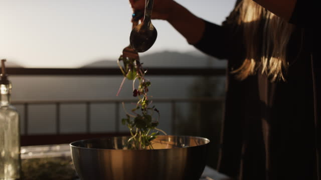 close up shot of a woman mixing a bowl of microgreens - salad bowl stock videos & royalty-free footage