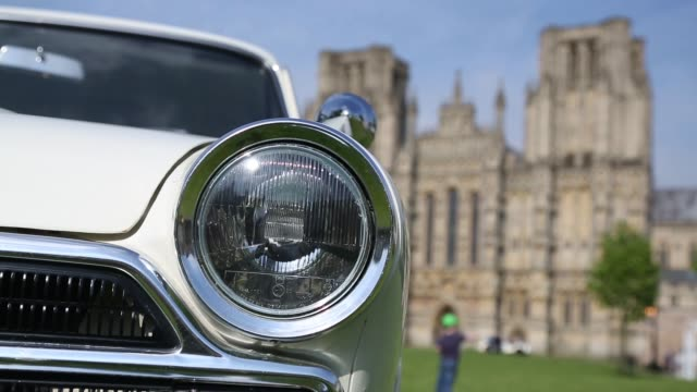 close up shot of classic car's headlights. now in its 19th year and organized by the classic & historic motor club, this year's event will once again... - wells cathedral stock videos & royalty-free footage